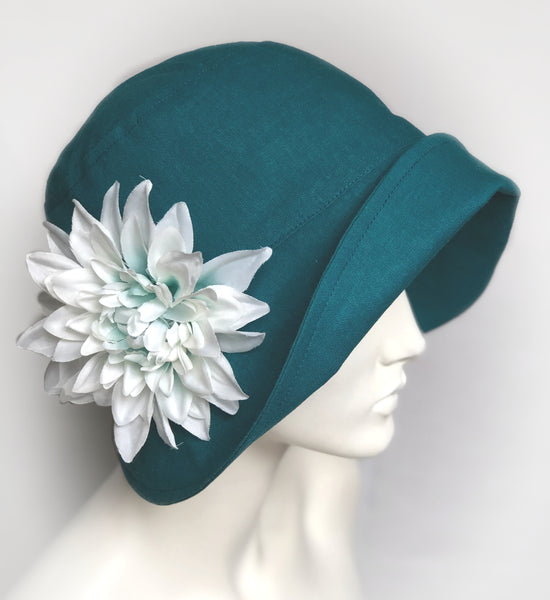 Linen Cloche in teal with removable flower brooch