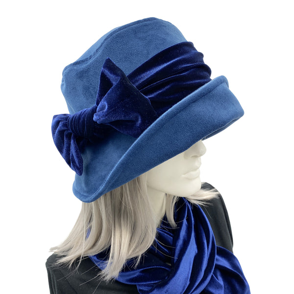 Blue Velvet cloche hat Downton Abbey style