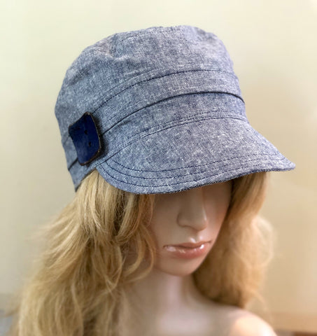 Denim Blue Linen Cap | The Emily