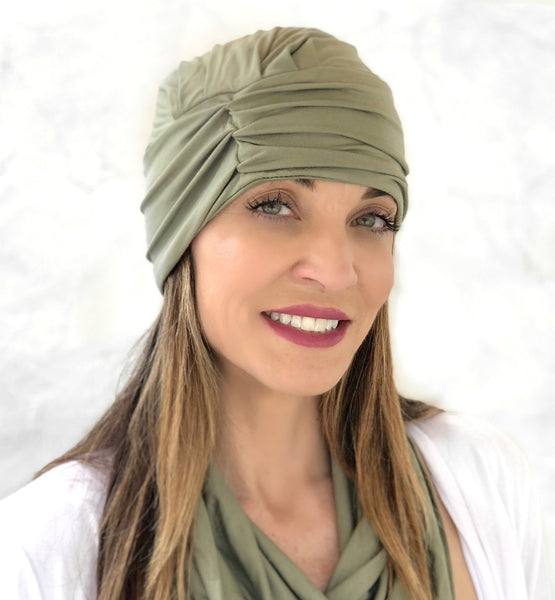 Chemo headwear in soft bamboo jersey Olive green
