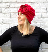 red fleece turban the evie