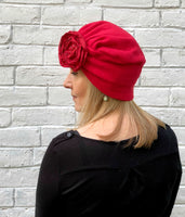 red fleece turban the evie rear view