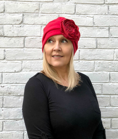 Evie turban hat in red fleece Boston Millinery