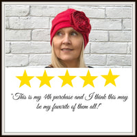 Fleece Turban with Removable Satin Rose - The Evie Cloche