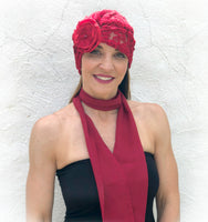 Lace Fashion Turban with Rose Flower Accessory - The Evie
