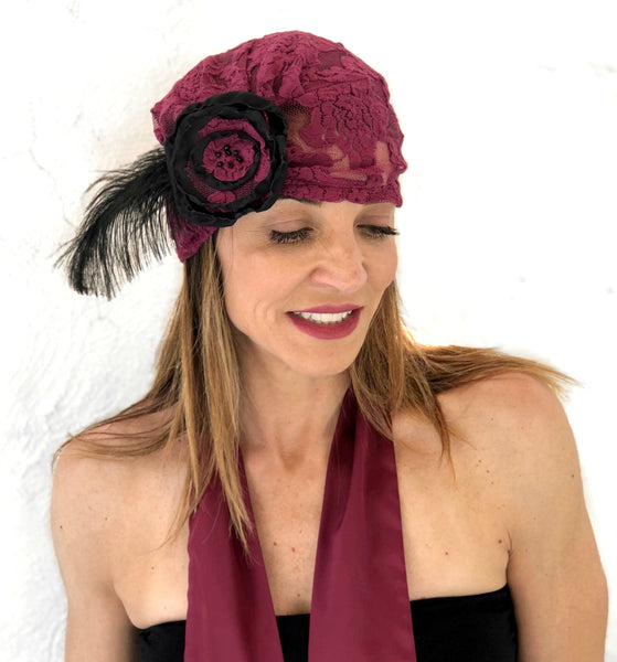 Lace Turban with Rose and Ostrich Feather Accessory | The Evie