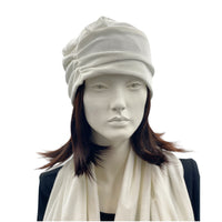 Winter white velvet turban hat front view Boston Millinery
