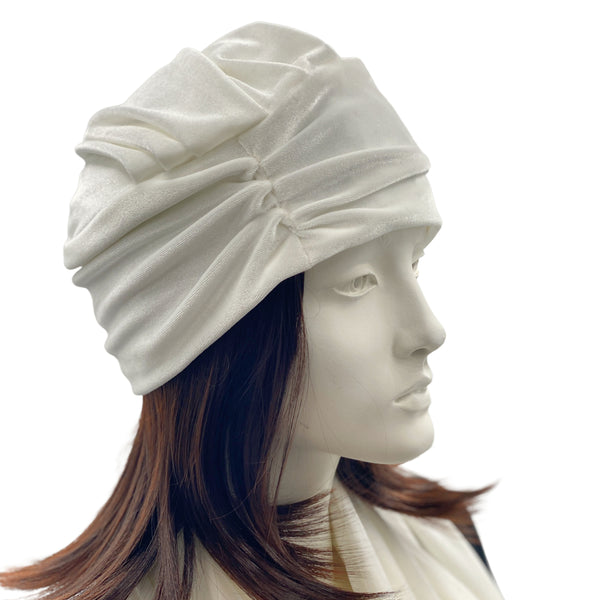 Winter white velvet turban hat side view Boston Millinery