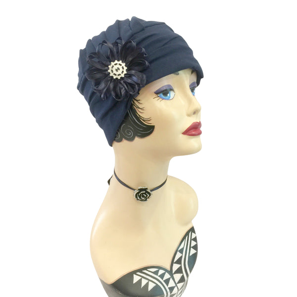 Evie navy blue jersey ribbon flower and cog accessory