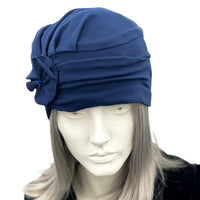 Navy blue cotton jersey turban  chemo headwear