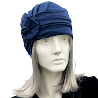 Navy blue cotton jersey turban