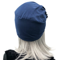 Navy blue cotton jersey turban rear view 1920s flapper style