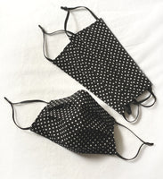 Black small polka dot face mask with adjustable elastics