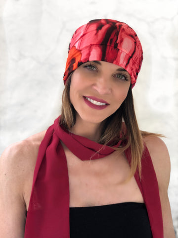 Red Reversible Beanie Slouch Hat