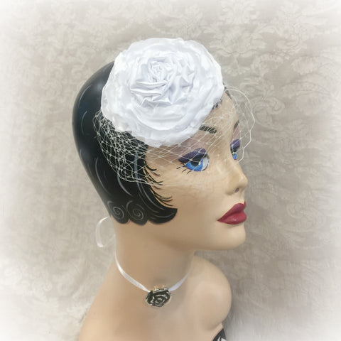White Wedding Fascinator with Birdcage Veil