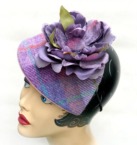 Harris Tweed Fascinator in Lilac