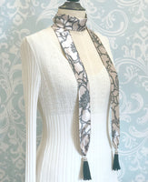 Long Tassel Scarf in Dusky Pink and Gray Silk Floral Print | Boston Millinery