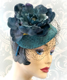 deep teal flower fascinator Boston Millinery