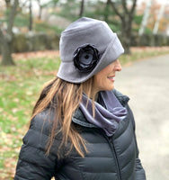gray cloche with rose accessory handmade