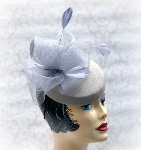 ab3305e7d Gray Cocktail Pillbox Hat - Fascinator with Milliners Bow and Feathers