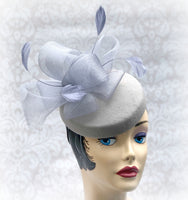 Gray Cocktail Pillbox Hat - Fascinator with Milliners Bow and Feathers