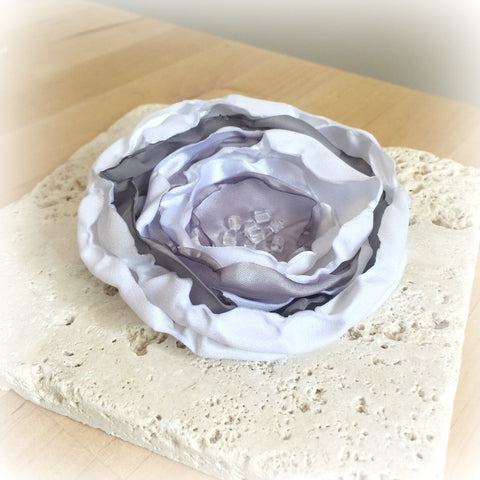 Handmade Satin Flower Brooch - Boston Millinery
