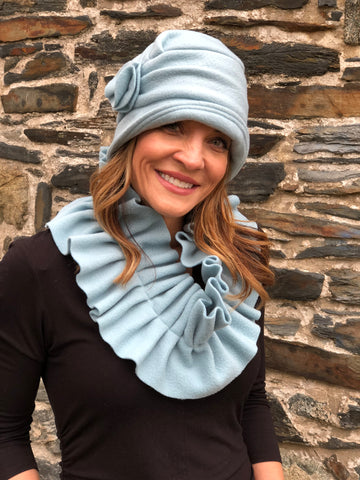 1920's style cloche hat in duck egg blue fleece and matching scarf Boston Millinery