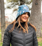 Blue paisley shower proof cloche Boston Millinery
