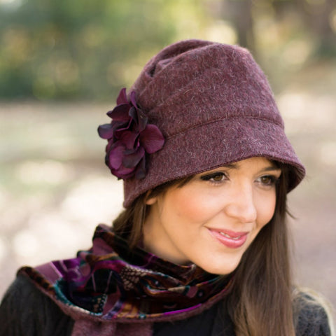 c6ff90f16743d The Alice Cloche in Eggplant Wool - Women s Winter Hats – Boston Millinery
