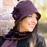 The Alice Cloche in Eggplant Wool - Women's Winter Hats