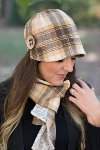 08bb2979 Women's Winter Camel Plaid Wool Cap and Scarf | The Polly Cloche – Boston  Millinery