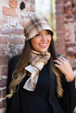 Women's Winter Camel Plaid Wool Cap and Scarf | The Polly Cloche