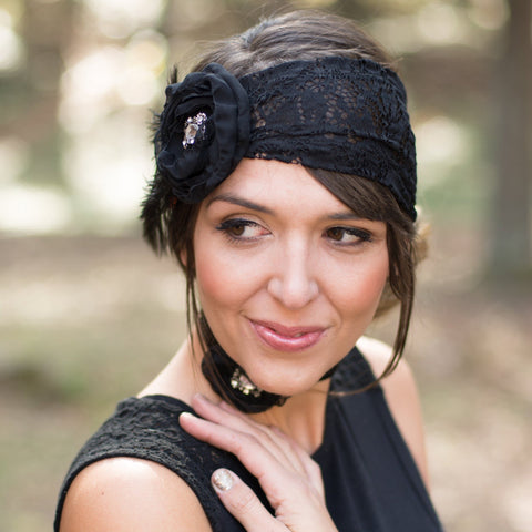 Great Gatsby Headband - Black Lace and Feather Fascinator