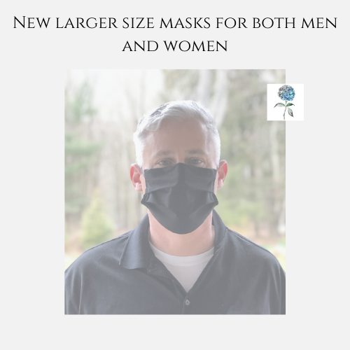 Large Size Face Mask in Black Cotton l Handmade