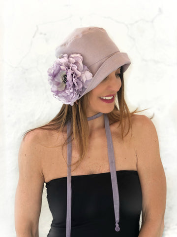 Downton Abbey Wedding Hat in Lilac Linen | The Eleanor Cloche