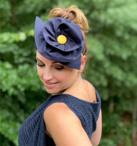 Blue fascinator hats Boston millinery