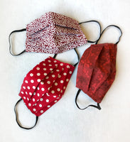 Washable Cotton Face Masks in Shades of Red l Handmade