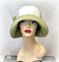 Pistachio Green and White Linen Summer Flapper Hat | The Millie