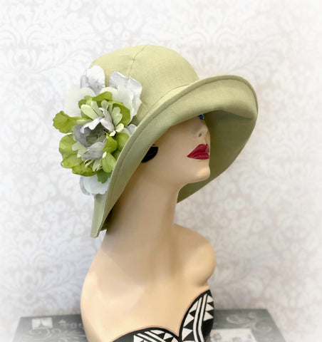 Millie Cloche Hat for Women in Pistachio green Linen