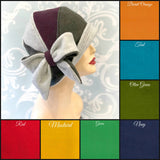 1920's Winter Fleece Tri-Color Cloche Hat with Bow Accessory | The Millie