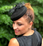 Black Pillbox Fascinator with Rhinestone Detail