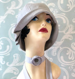 1920s linen hat and chiffon necklace scarf