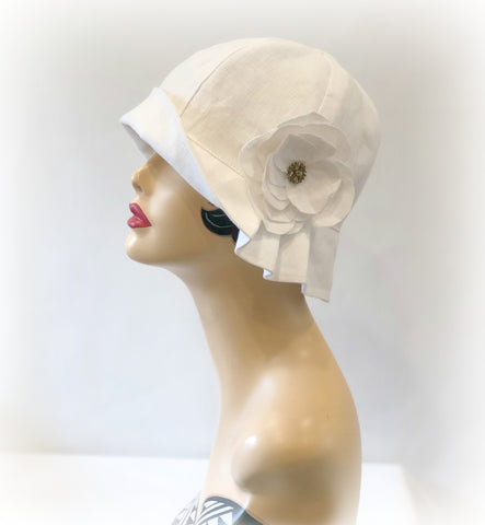 Vintage Style Linen Cloche with Pleated Brim and Linen Flower | The Polly