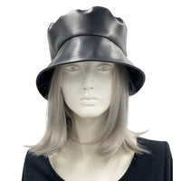 Womens Black Vegan Leather Rain Hat | Spring Collection