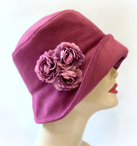 The Eleanor Cloche in Raspberry Velour Velvet