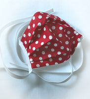 Red polka dot afce mask with ties