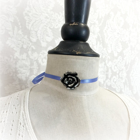 Silver Rose and Ribbon Choker Necklace