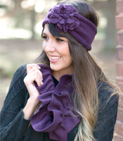 Ruffled Fleece Infinity Scarf Choose your Color Eggplant