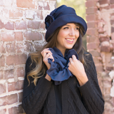 Ruffled Fleece Infinity Scarf Choose your Color Navy