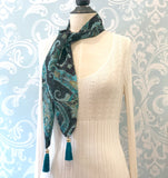 Teal Paisley Tassel Scarf 1920's Style Boston Millinery